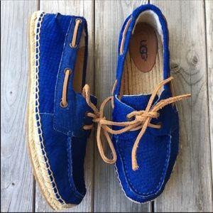 UGG Australia cobalt blue w scales boat shoes sz 9